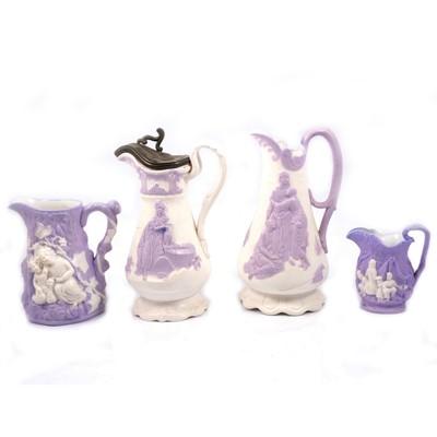Lot 58 - Parian Naomi jug, Rebecca at the well jug, Gypsy jug and Babes in the Wood jug
