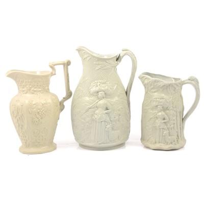 Lot 60 - Stoneware Gleaner jug, Harvest jug and a Hops & Barley jug