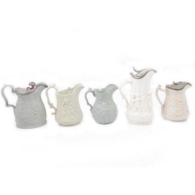 Lot 61 - Stoneware Diana jug, Amorini jug, Cherub & Grapevine jug, Sleeping Cherubs jug and Danding Amorini jug
