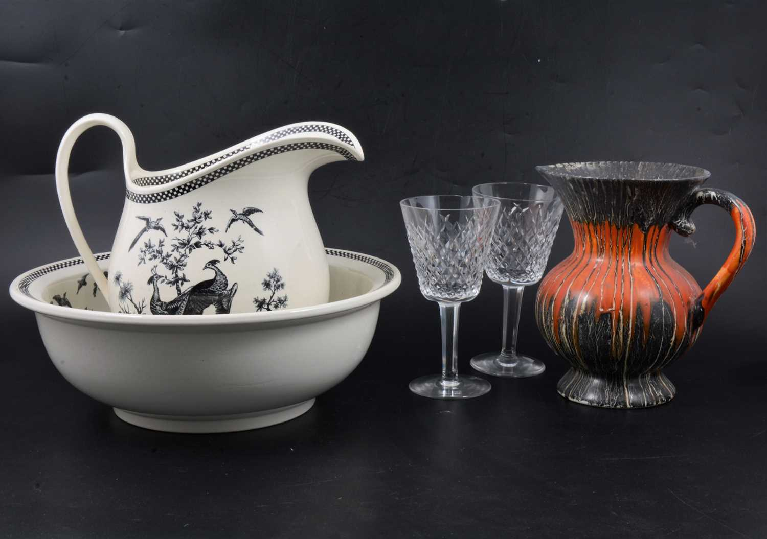 Lot 19 - A Wedgwood earthenware jug and bowl, plus other ceramics and glass.