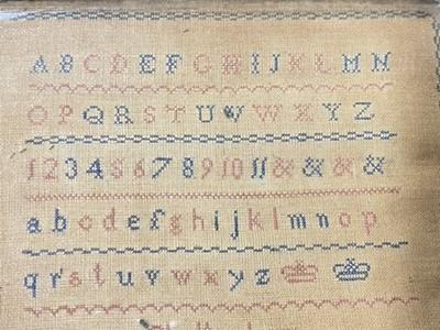 Lot 106 - Small Victorian alphabet sampler, Cheltenham Female Orphan Asylum