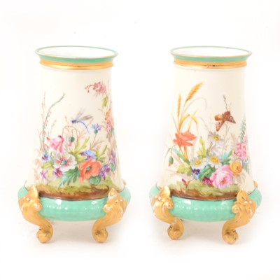 Lot 1 - Pair of French porcelain painted vases.