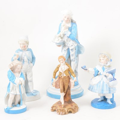 Lot 34 - A collection of 19th century Continental porcelain figures.