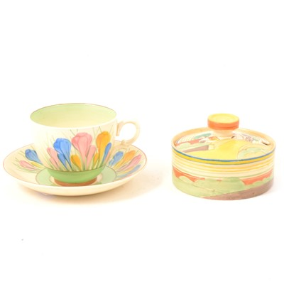 Lot 5 - Clarice Cliff 'Brookfields' jam pot, and 'Spring Crocus' pattern cup and saucer.