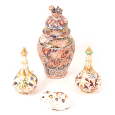 Lot 10 - Pair of Derby scent bottles, Imari vase and Royal Crown Derby paperweight.