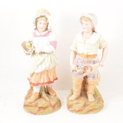 Lot 40 - Pair of large Heubach bisque porcelain figures.
