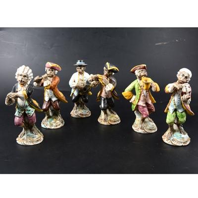 Lot 9 - Set of six Italian majolica Monkey Band figures