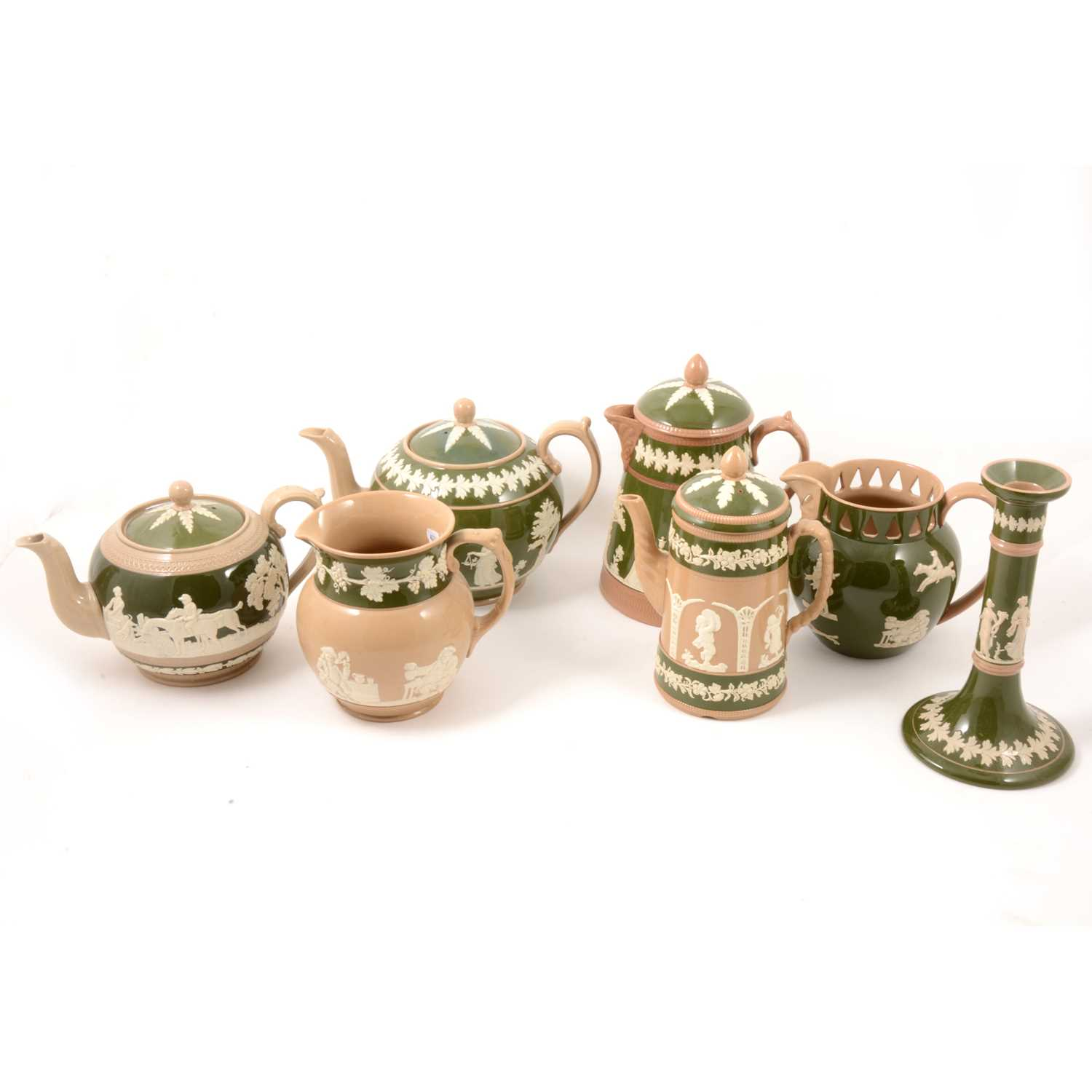 Lot 33 - A collection of Copeland green and buff glazed stoneware