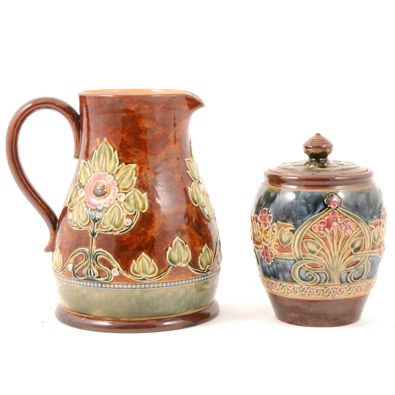Lot 39 - Royal Doulton stoneware jug and tobacco jar.