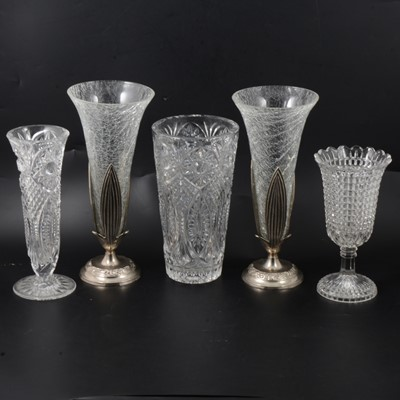 Lot 54 - Victorian press moulded milk glass goblets, plus other glassware.