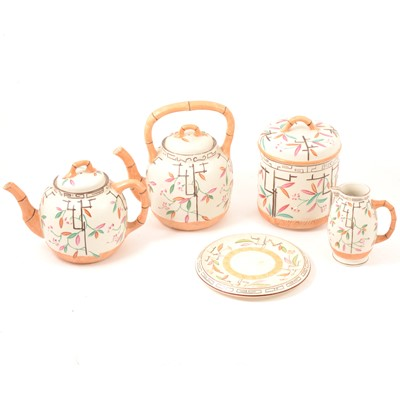 Lot 52 - A Victorian stoneware teaset, Japanese inspired design.
