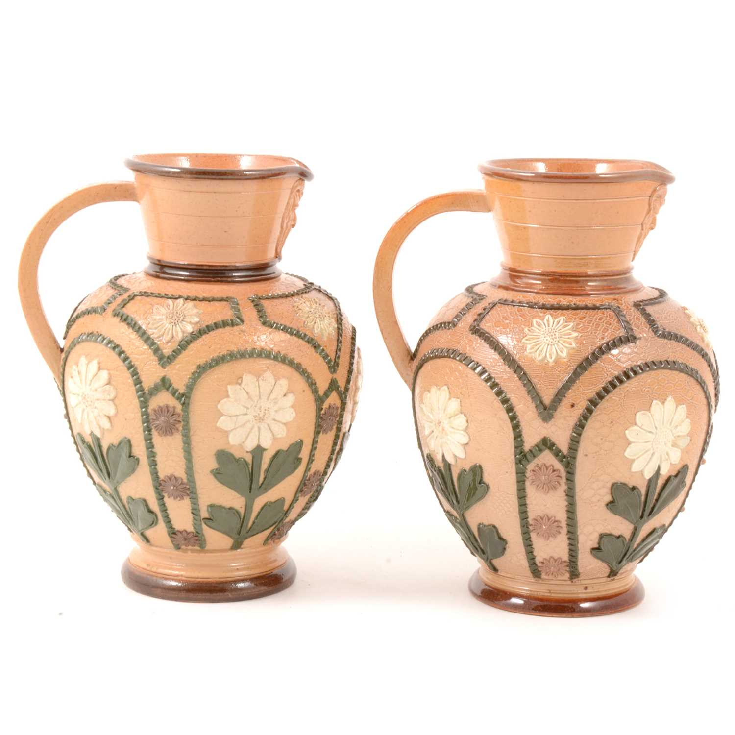 Lot 32 - Pair of Doulton Lambeth Slater's patent Aesthetic style stoneware jugs.