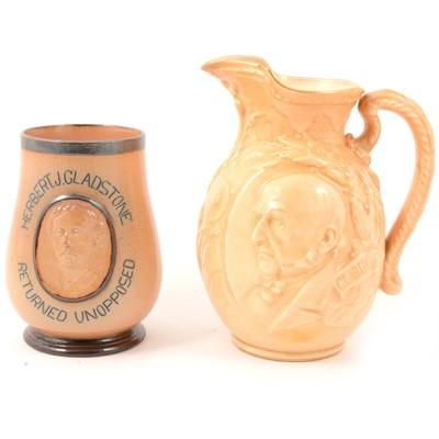 Lot 41 - Doulton Lambeth stoneware commemorative vase, and Doulton Burslem commemorative jug.