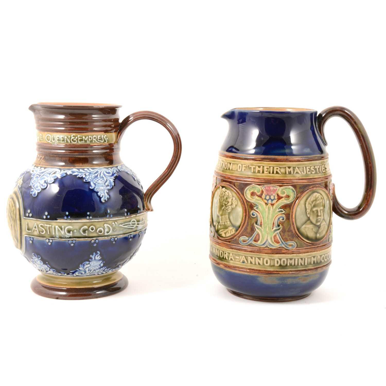 Lot 45 - Doulton Lambeth and Royal Doulton stoneware commemorative jugs.
