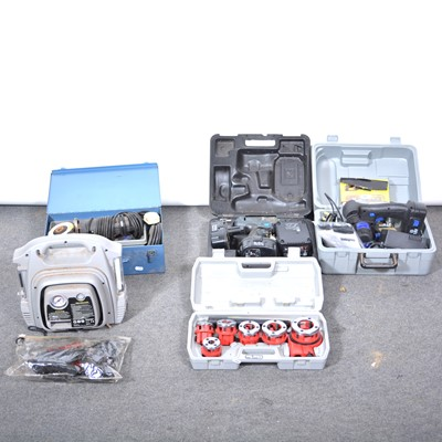 Lot 41 - A Elu cordless drill, Nutool cordless handsaw, Black and Decker small grinder and and a Clarke 6 die pipe threading set, Halfords power pack