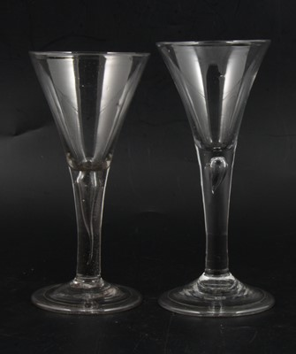 Lot 6 - Two trumpet wine glasses