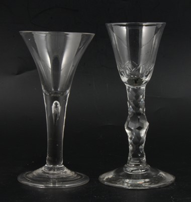 Lot 9 - 18th Century wine glass and a trumpet shaped wine glass