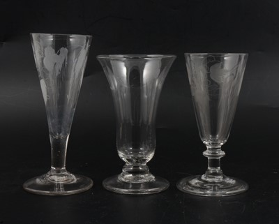 Lot 14 - Three ale flutes, c1800