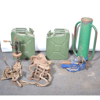 Lot 52 - Block pulleys, vice, jerry cans, etc.
