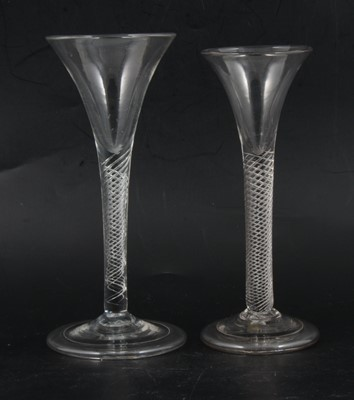 Lot 18 - Two trumpet shaped wine glasses