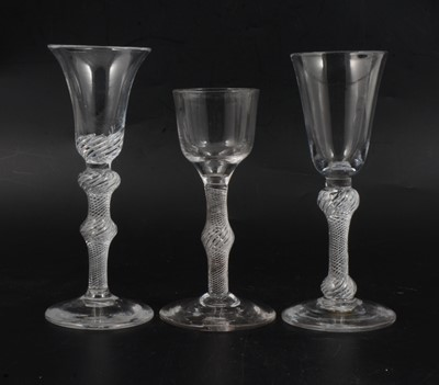 Lot 20 - 18th Century cordial glass and two wine glasses