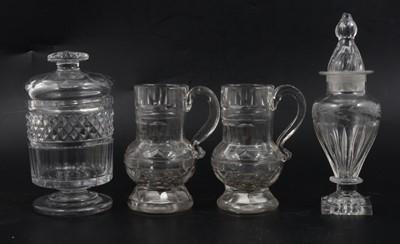 Lot 22 - Regency glass sugar box, jar and pair of creamers