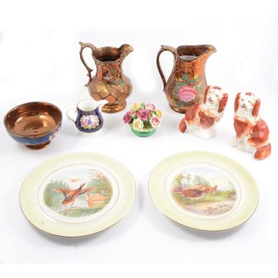 Lot 35 - Quantity of decorative ceramics including lustreware Jugs.