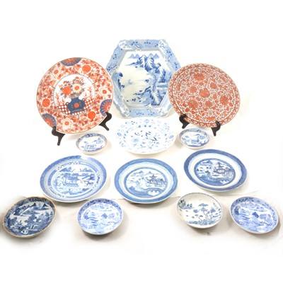 Lot 45 - Japanese hexagonal and circular charges, plus other wares.