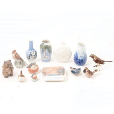 Lot 19 - Royal Copenhagen and other Continental vases and animal figures.