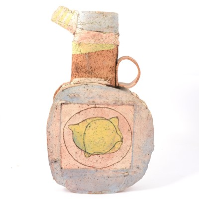 Lot 14 - Studio Pottery earthenware flask incised with lemons.