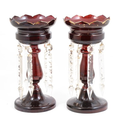 Lot 16 - Pair of ruby tinted glass lustre glasses, with prismatic drops.