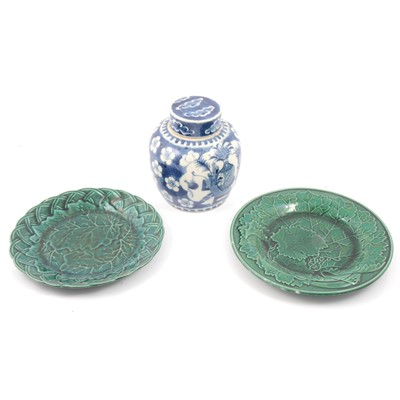 Lot 7 - Chinese ginger jar and Staffordshire green-glazed plates.
