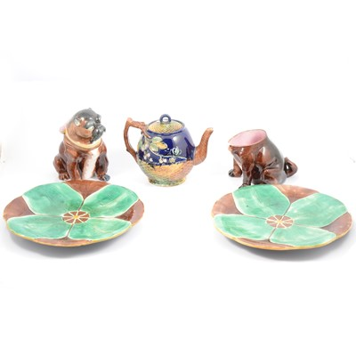 Lot 26 - Quantity of majolica ware, including novelty Pug dog jar and cover.