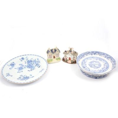 Lot 30 - Staffordshire cottage pastille burner, Staffordshire cottage, transfer ware comport and Chinese plate.