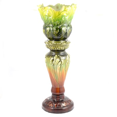 Lot 36 - Bretby Pottery jardiniere on an associated pedestal.
