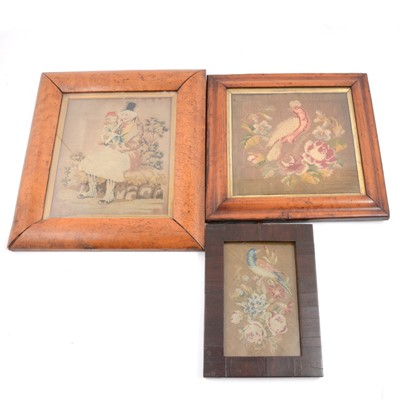 Lot 97 - Victorian sampler picture and two needlework pictures.