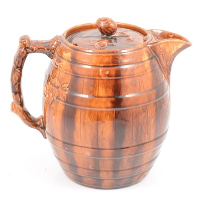 Lot 33 - Staffordshire treacle-glazed jug, and set of leaf-moulded plates and dishes