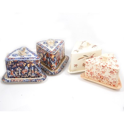 Lot 42 - Six assorted Staffordshire cheese dishes and covers.