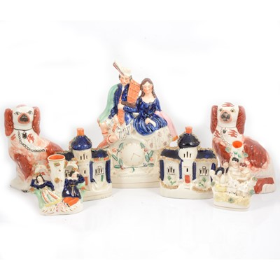 Lot 32 - Quantity of Staffordshire pottery, including Highlander Clock group.