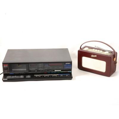 Lot 14 - A retro Aiwa F640K cassette player; Roberts Revival portable radio