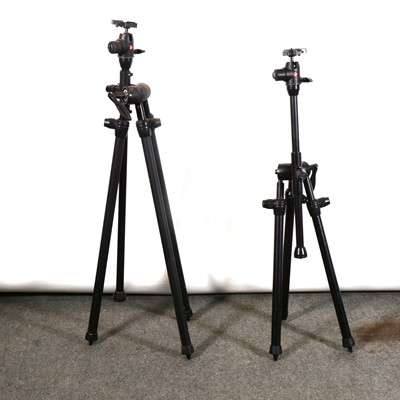 Lot 23 - Two Manfrotto 468MGRC2 ball heads, mounted on Benbo photography tri-pods.