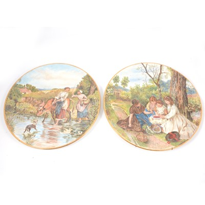 Lot 27 - Pair of Continental pottery chargers