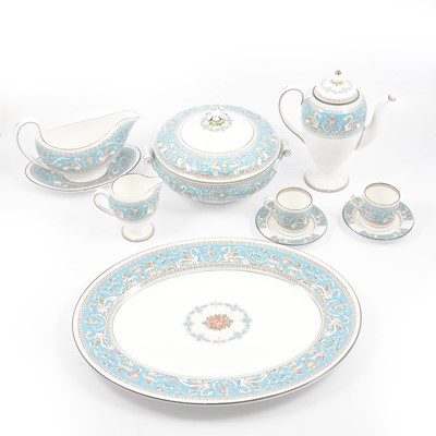 Lot 65 - Wedgwood turquoise 'Florentine' pattern part dinner and coffee service.