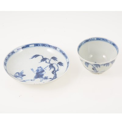 Lot 52 - Chinese blue and white teabowl and saucer