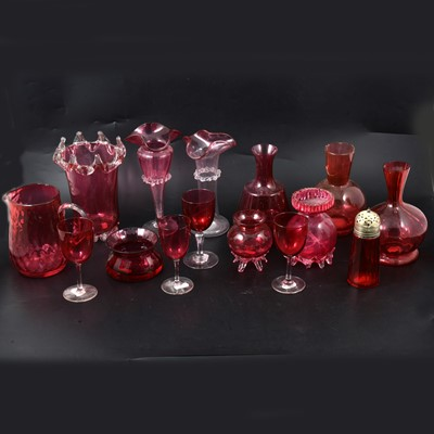 Lot 11 - Cranberry glasswares.