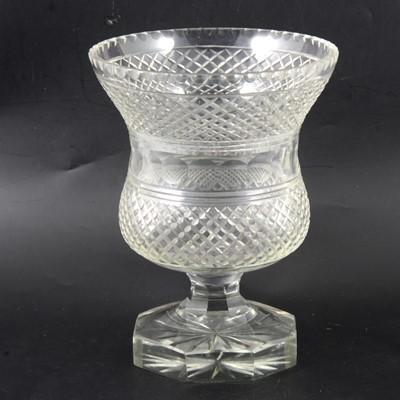 Lot 6 - Victorian cut-glass 'thistle' shaped vase.