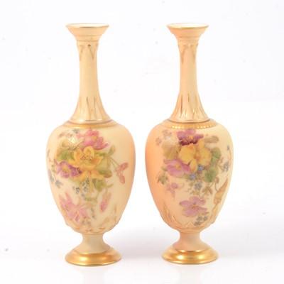 Lot 36 - Pair of Royal Worcester bottle vases