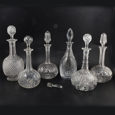 Lot 13 - Pair of cut glass globe and wand decanters and four others