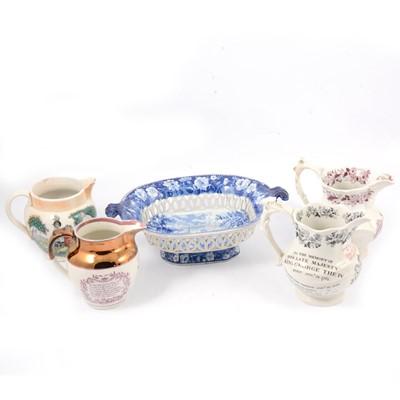 Lot 60 - Victorian transferware chestnut basket, pickle dishes, etc.