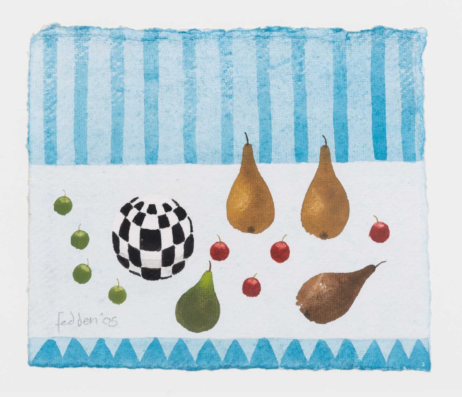 Lot 392 - Mary Fedden - Still life with pears, cherries and a ball, 2005.